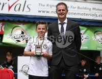 PressEye-Northern Ireland- 27th   July  2018-Picture by Brian Little/PressEye. SuperCupNI. Minor  Section . Greenisland      against Bertie Peacock Youths   Luca Doherty awarded the Man of the Match Award presented by Nigel Dobson, Head of Sport University of Ulster after  the SuperCupNI Minor Final  at Coleraine Showgrounds. . Picture by Brian Little/PressEye