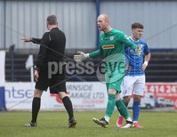 Danske Bank Premiership, Showgrounds, Coleraine , Co. Derry. Northern Ireland 1/5/2021. Coleraine V Cliftonville. Cliftonville keeper Aaron McCarey appeals a penalty decision from match referee Raymond Crangle.. Mandatory Credit INPHO/Presseye/Lorcan Doherty.