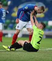 Danske Bank Premiership, Windsor Park, Belfast  3/11/2018. Linfield FC vs Warrenpoint Town. Linfield Michael O\'Connor       and  Seanna Foster   of Warrenpoint Town. . Mandatory Credit @INPHO/Brian Little.