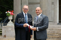 Press Eye - Belfast - Northern Ireland - 8th September 2018 - . RORY BEST AWARDED FREEDOM OF THE BOROUGH AT CEREMONY IN ARMAGH.  . Some of the biggest names from the world of rugby union gathered today at the Archbishop's Palace in Armagh along with friends and family of Dr Rory Best OBE to witness the sportsman's conferment with the Freedom of the Borough of Armagh City, Banbridge and Craigavon..  . The Lord Mayor, Alderman and Councillors awarded the honour to the Ulster, Ireland and Lions rugby star – only the second-ever granted - to recognise his huge contribution to both sport and the community in the borough..  . Rory Best and  Armagh City, Banbridge and Craigavon Council CEO Roger Wilson.. Photo by Kelvin Boyes / Press Eye..