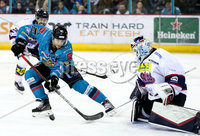 Press Eye - Belfast -  Northern Ireland -16th November 2019 - Photo by Darren Kidd/Presseye . Belfast Giants\' Liam Reddox with Dundee Stars\' Alex Leclerc during Saturday nights Elite Ice Hockey League game at the SSE Arena, Belfast.    Photo by Darren Kidd/Presseye
