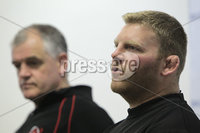 ©Press Eye Ltd Northern Ireland . Ulster Coach Brian McLaughlin and Nigel Brady speaking to the press at todays Ulster Rugby press conference ahead of Saturdays Rabo-Direct Pro 12 game against Munster at Thomond Pk. . Mandatory Credit-. Picture by BrianThompsonPresseye.com .