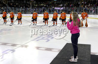 Press Eye - Belfast, Northern Ireland - 30th November 2019 - Photo by William Cherry/Presseye. Princeton Tigers during the National Anthem during Saturday afternoons Friendship Four game against UNH Wildcats at the SSE Arena, Belfast.      Photo by William Cherry/Presseye