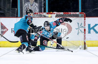 Press Eye - Belfast -  Northern Ireland - 03rd February 2019 - Photo by William Cherry/Presseye. Belfast Giants\' Darcy Murphy covers the net during Friday nights Elite Ice Hockey League game against Guildford Flames at the SSE Arena, Belfast.   Photo by William Cherry/Presseye