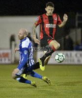 . Danske Bank Premiership, The Showgrounds, Co. Armagh 2/11/2018. Newry City vs Crusaders. Newry\'s Kevin McArdle  in action with Crusaders Jordan Forsythe. Mandatory Credit INPHO/Stephen Hamilton.