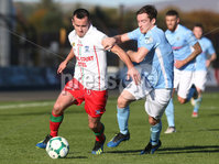 Danske Bank Premiership, Ballymena Showgrounds, Co. Antrim 6/10/2018. Ballymena vs Newry City. Ballymena\'s Andrew McGrory in action with Mark. Hughes of Newry City. Mandatory Credit INPHO/Matt Mackey