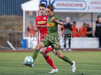UEFA Europa League First Qualifying Round First Leg, Solitude, Belfast 12/7/2018. Cliftonville vs Nordsjaelland. Cliftonville\'s Ryan Curran with Nordsjaelland\'s Mikkel Damsgaard. Mandatory Credit ©INPHO/Jonathan Porter