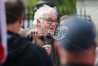 Press Eye - Belfast - Northern Ireland - 23rd June 2018. UK freedom march and protest along with United Against Racism counter-protest at Belfast City Hall. . A speaker from the UK Freedom march. . Picture by Jonathan Porter/PressEye