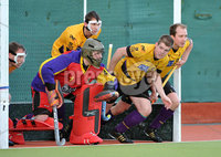 Mandatory Credit: Rowland White/Presseye. Men\'s Hockey: Irish Senior Cup Semi-Final. Teams: Cork Harlequins (black) v Instonians (yellow). Venue: National Hockey Stadium, Dublin. Date: 12th May 2012. Caption: Instonians defend