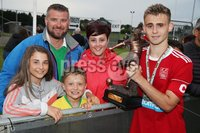 PressEye-Northern Ireland- 27th   July  2018-Picture by Brian Little/PressEye. SuperCupNI. Premier   Section . Co Down       player of the tournament award with his family during the SuperCupNI Premier  Final  at Ballymena Showgrounds. . Picture by Brian Little/PressEye