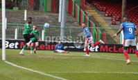 Danske Bank Premiership, The Oval, Belfast, Northern Ireland. 1/5/2021. Glentoran vs Linfield FC . Glentoran Gael Bigirimana   and Linfield  Andrew Waterworth  . Mandatory Credit INPHO/Presseye/Brian Little