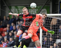 . Danske Bank Premiership Play-Off, Seaview, Belfast 14/4/2018 . Crusaders vs Linfield. Mandatory Credit ©INPHO/Stephen Hamilton. Crusaders Jordan Owens  with Linfields Roy Carroll