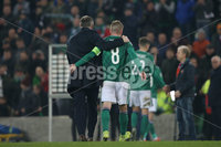 PressEye-Northern Ireland- 16th November 2019-Picture by Brian Little/PressEye. Northern Ireland manager Michael O\'Neill and captain Steven Davis walk off the pitch after the final  whistle against  Netherlands   during Saturday\'s EURO 2020 Qualifier at the National Football Stadium at Windsor Park.. Picture by Brian Little/PressEye