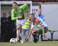 Press Eye - Belfast  - 11th August 2012. Danske Bank Premiership game between Glentoran and Donegal Celtic at The Oval, Belfast.. Glentorans Colin Nixon and Donegal Celtics Shane Dolan in action at Saturdays Danske Bank Premiership Game. . ©Russell Pritchard / Presseye