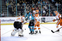 Press Eye - Belfast, Northern Ireland - 06th December 2019 - Photo by William Cherry/Presseye. Belfast Giants\' Ciaran Long with Sheffield Steelers\' Tomas Duba during Friday nights Elite Ice Hockey League game at the SSE Arena, Belfast.       Photo by William Cherry/Presseye