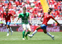 Press Eye - Belfast -  Northern Ireland - 03rd June 2018 - Photo by William Cherry/Presseye. Costa Rica\'s Giancarlo Gonzalez with Northern Ireland\'s Paddy McNair during Sunday mornings International Friendly at the Nuevo Estadio Nacional de Costa Rica in San Jose.   Photo by William Cherry/Presseye