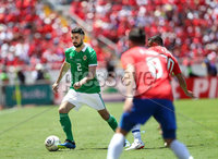 Press Eye - Belfast -  Northern Ireland - 03rd June 2018 - Photo by William Cherry/Presseye. Costa Rica\'s Bryan Oviedo with Northern Ireland\'s Conor McLaughlin during Sunday mornings International Friendly at the Nuevo Estadio Nacional de Costa Rica in San Jose.   Photo by William Cherry/Presseye