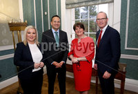Press Eye - Belfast, Northern Ireland - 13th January 2020 - Photo by William Cherry/Presseye. First Minister Arlene Foster and deputy First Minister Michelle O\'Neill meet with Taoiseach Leo Varadkar and Tnaiste Simon Coveney at Parliament Buildings, Stormont.   Photo by William Cherry/Presseye