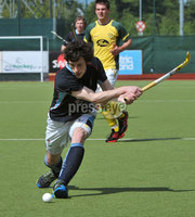 Mandatory Credit: Rowland White/Presseye. Men\'s Hockey: Irish Senior Cup Semi-Final. Teams: Lisnagarvey (blue) v Railway Union (yellow)). Venue: National Hockey Stadium, Dublin. Date: 12th May 2012. Caption: Andy Forrest, Lisnagarvey