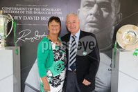 Press Eye - Belfast - Northern Ireland - 8th September 2018 - . Willie and Edna Gribben  pictured at the Archbishop's Palace in Armagh along with friends and family of Dr Rory Best OBE to witness the sportsman's conferment with the Freedom of the Borough of Armagh City, Banbridge and Craigavon..  . Photo by Kelvin Boyes / Press Eye..