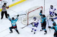 Press Eye - Belfast -  Northern Ireland - 06th April 2019 - Photo by William Cherry/Presseye. Belfast Giants\' Chris Higgins celebrates scoring against Coventry Blaze during Saturday evenings PredictorBet Playoff Quarter Final 1st Leg game at the SSE Arena, Belfast. Photo by William Cherry/Presseye