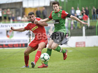 4th August 2018. Danske Bank Irish premier league match between Glentoran and Cliftonville at The Oval in Belfast.. Glentorans Willie Garrett  in action with Cliftonvilles Joe Gormley.  Mandatory Credit: Stephen Hamilton /Inpho
