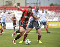 6th August 2018. Danske Bank Irish premier league match between Crusaders and Ards at Seaview.. Crusaders in action with Ards.  Mandatory Credit: Stephen Hamilton /Inpho