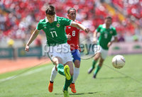 Press Eye - Belfast -  Northern Ireland - 03rd June 2018 - Photo by William Cherry/Presseye. Costa Rica\'s Bryan Oviedo with Northern Ireland\'s Paddy McNair during Sunday mornings International Friendly at the Nuevo Estadio Nacional de Costa Rica in San Jose.   Photo by William Cherry/Presseye
