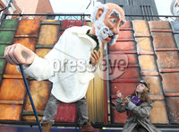 @Press Eye Ltd Northern Ireland -3rd May    2012. Mandatory Credit - Brian Little/ Presseye.com. \'Professor Dashwood\' (Michael McNulty) and \'Chip\' , Ella Lyttle (11) during rehersals for Journey to the Land of Giants which is the opening show of the Festival of Fools, at Saint Anne\'s Square.. . . . . . . . . . . . . . . . . . . . . . . . . . . . . . . . . . . . . . . . .  . . . . . . . . . . . . .