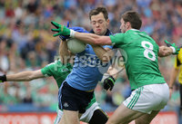 GAA Football All Ireland Senior Championship Quarter-Final, Croke Park, Dublin 2/8/2015. Dublin vs Fermanagh. Dublin\'s Dean Rock with Mickey Jones and Eoin Donnelly of Fermanagh. Mandatory Credit ©INPHO/Morgan Treacy