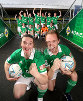 Press Eye - Belfast -  Northern Ireland - 07th November 2018 - Photo by William Cherry/Presseye. Ruth Boyle and Matthew Gallagher from Street Soccer NI team are pictured at a farewell reception ahead of their week-long trip to Mexico to represent Northern Ireland in the Homeless World Cup street football tournament. The competition brings together more than 500 players from over 50 countries who have faced homelessness and social marginalisation and helps ensure opportunities for the players to positively transform their lives upon return. Street Soccer NI is being funded by the Department for Communities, as part of the Northern Ireland Executives Together: Building a United Community (T:BUC) Strategy.