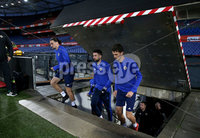 Press Eye - Belfast, Northern Ireland - 09th October 2019 - Photo by William Cherry/Presseye. Northern Ireland\'s Ciaron Brown, Conor McLaughlin and Tom Flanagan walk up the stairs and onto the pitch during Wednesday nights training session at Stadium Feijenoord ahead of Thursday nights UEFA Euro 2020 Qualifier against Netherlands in Rotterdam. Photo by William Cherry/Presseye