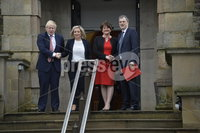 13/01/2020. Prime Minister Boris Johnston pictured as he arrives at Stormomnt Castle with First Minister Arlene Foster,Deputy First Minister Michelle ONeill and Secretaty of State Julian Smith at the start of the new Power Sharing .. Mandatory Credit.  Presseye/Stephen Hamilton