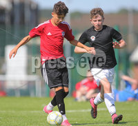 ©/Presseye.com - 17th July 2017.  Press Eye Ltd - Northern Ireland - Hughes Insurance Foyle Cup U-13 2017- GPS FC Bayern (USA) V Bertie Peacock Youth League.. Cooper Banks (GPS FC Bayern) and Oisin McCrudden (B Peacock YL).  . Mandatory Credit Photo Lorcan Doherty / Presseye.com
