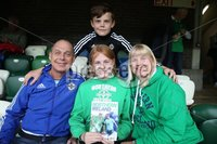 PressEye-Northern Ireland- 8th September  2018-Picture by Brian Little/ PressEye. Fans Alastair, Karen, Rachel and Adam Patterson from Carrickfergus supporting Northern Ireland against  Bosnia and Herzegovina      during  Saturday\'s  UEFA Nations League match at the National Football Stadium at Windsor Park.. Picture by Brian Little/PressEye .