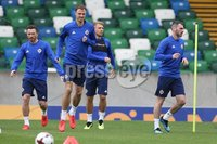 PressEye-Northern Ireland- 10th September  2018-Picture by Brian Little/ PressEye. Northern Ireland   Jonny Evans      training ahead of Tuesday Friendly International Challenge match against Israel  at the National Football Stadium at Windsor Park.. Picture by Brian Little/PressEye .