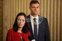 PressEye-Northern Ireland- 10th September  2018-Picture by Brian Little/ PressEye. SDLP Deputy Leader Nichola Mallon  with Colin McGrath speaking at the Great Hall, Parliament Buildings, Stormont.. Picture by Brian Little/PressEye