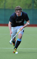 Mandatory Credit: Rowland White/Presseye. Men\'s Hockey: Irish Senior Cup Semi-Final. Teams: Lisnagarvey (blue) v Railway Union (yellow)). Venue: National Hockey Stadium, Dublin. Date: 12th May 2012. Caption: Daniel Buser, Lisnagarvey