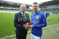 PressEye-Northern Ireland- 8th September  2018-Picture by Brian Little/ PressEye. IFA President David Martin presents Northern Ireland Oliver Norwood with his 50th cap before the match against  Bosnia and Herzegovina      during  Saturday\'s  UEFA Nations League match at the National Football Stadium at Windsor Park.. Picture by Brian Little/PressEye .