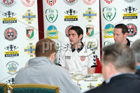 Presseye.com ©Stephen Hamilton  - 9th  May 2012. Derry Citys Ruaidhri Higgins pictured at the Setanta cup final press conference held ahead of Saturdays game at the Oval.   Mandatory Credit - Picture by Stephen Hamilton/Presseye.