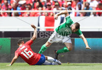 Press Eye - Belfast -  Northern Ireland - 03rd June 2018 - Photo by William Cherry/Presseye. Costa Rica\'s Francisco Calvo with Northern Ireland\'s Stuart Dallas during Sunday mornings International Friendly at the Nuevo Estadio Nacional de Costa Rica in San Jose.   Photo by William Cherry/Presseye