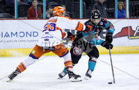 Press Eye - Belfast -  Northern Ireland - 06th January 2019 - Photo by William Cherry/Presseye. Belfast Giants\' David Rutherford with Sheffield Steelers\' Aaron Johnson during Sunday afternoons Elite Ice Hockey League game at the SSE Arena, Belfast.    Photo by William Cherry/Presseye
