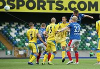 UEFA Europa League- Qualifying Third Round-2nd Leg, Windsor Park, Belfast  12/8/2019. Linfield FC vs FK FK Sutjeska. Linfield\'s Mark Stafford scores the opening goal against           FK Sutjeska.. Mandatory Credit  INPHO/Brian Little