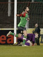 . Bet McLean League Cup Round 3, The Oval, Belfast 30/10/2018. Glentoran vs Coleraine. Glentorans Curtis Allen celebrates after heading his side into a 2-1 lead. Mandatory Credit INPHO/Stephen Hamilton.