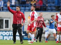 Danske Bank Premiership, Mourneview Park, Lurgan 4/8/2018. Glenavon FC vs  Linfield FC. Linfield manager David Healy celebrates a 1-0 victory against Glenavon.. Mandatory Credit @INPHO/Brian Little.