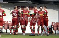 9th January 2021. Danske Bank Premiership, Solitude, Belfast . Cliftonville vs Crusaders. Cliftonville players celebrate after  Chris Hegarty slices the ball into his own net. Mandatory Credit INPHO/Stephen Hamilton