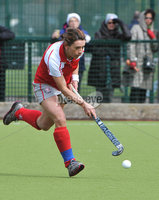Mandatory Credit: Rowland White/Presseye. Women\'s Irish Hockey League. Teams: Pegasus (red) v Hermes (blue). Venue: The Dub. Date: 21st April 2012. Caption: Claire McMahon, Pegasus