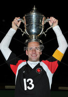 Mandatory Credit: Rowland White/Presseye. Hockey: Super 9\'s Finals. Presentation of the AndersonCup. Venue: Banbridge. Date: 25th April 2012. Caption: Dale Dragons captain Peter Caruth with the Anderson Cup