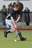 Mandatory Credit: Rowland White/Presseye. Men\'s Hockey: Irish Senior Cup Quarter-Final. Teams: Lisnagarvey (blue) v Pembroke Wanderers (yellow). Venue: Lisnagarvey. Date: 28th April 2012. Caption: Peter MacDonnell, Lisnagarvey