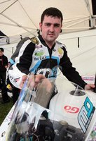 ©Press Eye Ltd Northern Ireland - 5th May 2012 - Mandatory Credit - Picture by Matt Mackey/presseye.com. Tandragee 100 road races, Co Armagh.. Ballymoney man Michael Dunlop shows where stones on the road came up and broke his screen.